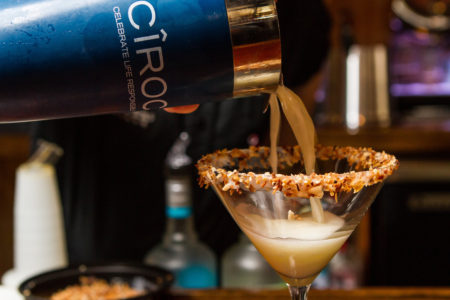 Pouring Toasted Coconut Martini