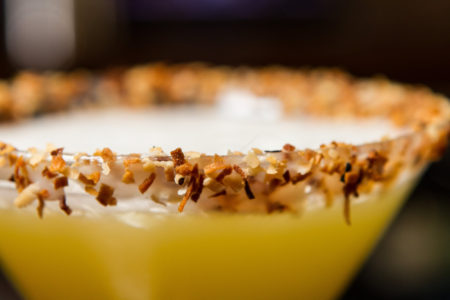 Close up of toasted coconut rim on Toasted Coconut Martini rim