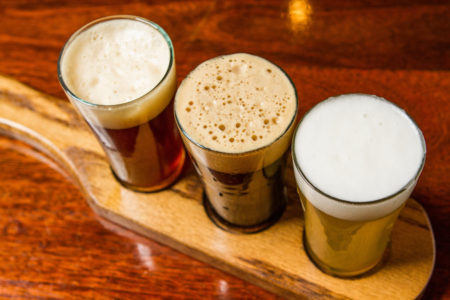 Top of a flight with three different beers