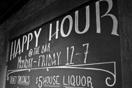 Black board Happy Hour specials