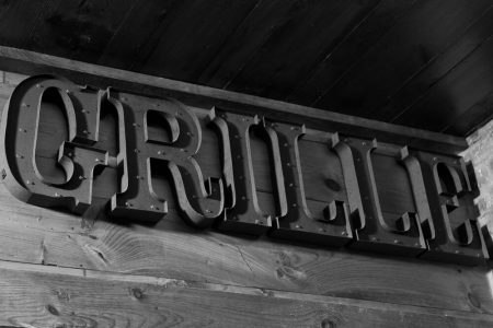 Black and white of Grille light up letters