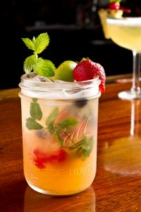 Signature cocktail in a mason jar