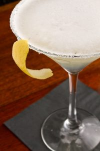 Martini with lemon peel garnish