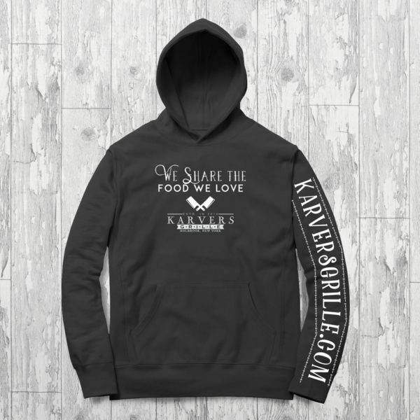"Photo of our Karvers hooded sweatshirt that reads ""We Share the Food We Love"" with the Karvers logo underneath and website on the sleeve"
