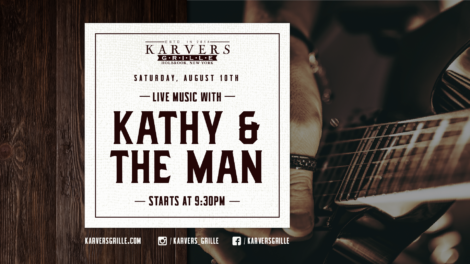 Flyer for live music from Kathy & The Man on August 10th